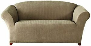Sure Fit Stretch Pinstripe 1-Piece - Loveseat Slipcover - Taupe