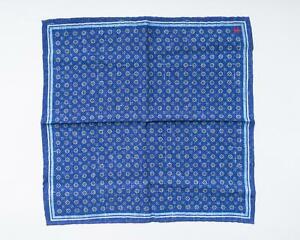 "Isaia Napoli NWT Blue Medallion Double Print Paisley Silk Pocket Square 12"""
