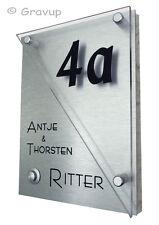 Klingelschild-Taster-Hausnummer + Gravur K12 mit V2A Edelstah l- Befestigung