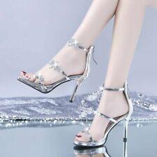 Women Crystal High Heel Pumps Sexy Peep Toe Sandals Luxury Wedding Fashion Party