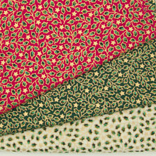 100% Cotton Christmas Fabric MINI HOLLY LEAVES Red Green Ivory Gold Metallic