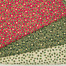 100% Cotton Christmas Fabric HOLLY STAR Red Green Ivory Gold Metallic Material