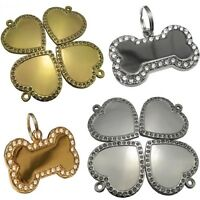 Diamontee Bling Bone/Heart Shape Engraved Pet Tags Dog/Cat Name Identity ID Disc