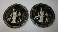 Vtg Asian Black Lacquer Mother of Pearl 2 Wall Decor Plaques Chinese Geisha