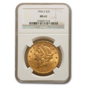 1906-S $20 Liberty Gold Double Eagle MS-61 NGC - SKU#34087