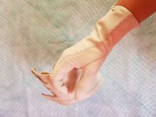 Vintage Retro Beige Coloured Leather Gloves Size 7.5 Small / Medium