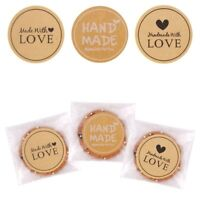 60x Handmade With Love Thank Label Sealing Stickers Candy Bag Wedding Party Gift