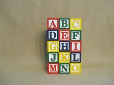 "MINIATURE 1-1/8"" ALPHABET COLOR LETTERS WOOD BLOCKS BABY DOLL TOYS NURSERY GIFTS"