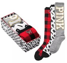Victoria's Secret VS PINK Knee High Sock Holiday Gift Set Red Plaid Logo Socks