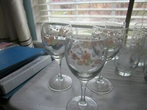 3 Arcopal Victoria  ~Florals ~ Made in France Wine Goblets
