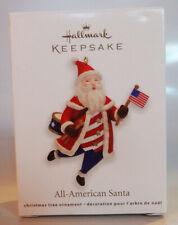 All-American Santa Hallmark Keepsake Christmas Tree Ornament Patriotic Flag USA