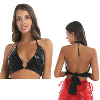 Women's Deep V Neck Knot Tie Crop Top Shiny Sequin Halter Backless Camisole Top