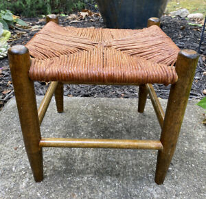 """Vintage Woven Jute Rope Wicker Footstool Bench Stand Tapered Wood Legs 12"""""""