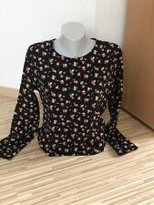 Damen Bluse, schwarz mit Blumenmuster, Gr. 40