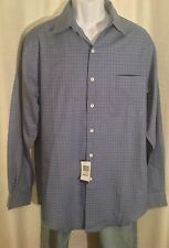 NWT Men's CLUB ROOM Size Medium Cobalt BLUE Gray CHECKS Long Sleeves Dress SHIRT
