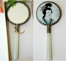 Vintage Oriental Chinese Hand Mirror Jade Handle Painted Lady's Portrait Ceramic
