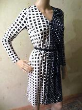Seidenkleid schwarz weiß N2 MARC CAIN Seide Kleid 36 kariert Karo wie Vasarely