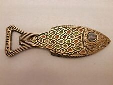 A VINTAGE FISH SHAPED SOLID BRASS BOTTLE OPENER ISRAEL BY WAINBERG