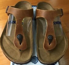 Birkenstock Gizeh 743781 size 39 L8M6 R Brown Oiled Leather Thong Sandals