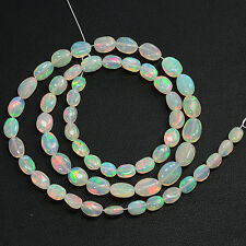 Stunning Fine Ethiopian White Opal Smooth Oval Nugget Beads 16.2 inch strand