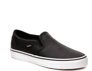 NEW Women's Vans Black Perf Leather Asher Slip On Sneaker