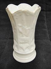 """Belleek 4"""" Bud Vase White Porcelain Gilded Edge Souvenir From Visitors Center"""