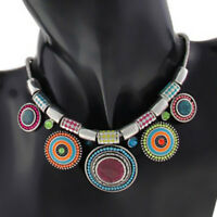 Fashion Women Bohemia Pendant Charm Chain Choker Chunky Statement Bib Necklace