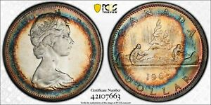 MS64 1965 $1 Canada Silver Voyageur Dollar, PCGS Secure- Rainbow Target Toned