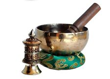 "5"" Tibetan Meditation Singing Bowl With cushion and striker-free prayer wheel"