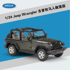 Welly 1:24 Jeep Wrangler Convertible Diecast Metal Model Car New in Box Green