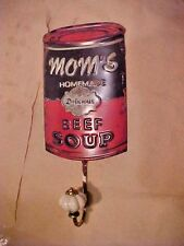 "Coat Hanger Moms Homemade Delicious Beef Soup Tin Sign with Hook "" NICE "" Decor"
