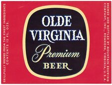 Olde Virginia Premium Beer Label