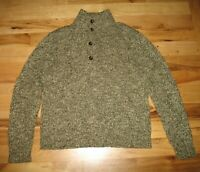 Polo By Ralph Lauren Gray Brown Cotton Button Up Pull Over Sweater Mens M