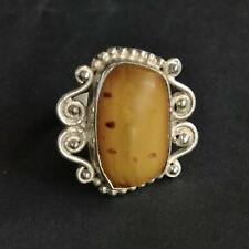 *Vintage Mossy Agate Ornate Sterling Silver Ring Size 7