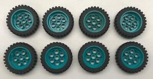 8 Lego Dark Turquoise Model Team Wheels Lot: 2695c01 13x24 tire 30x13 wheel