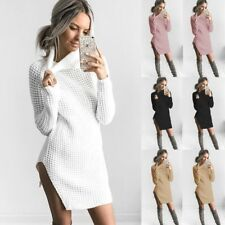 UK Fashion Womens Knitted Sweater Party Jumper Mini Dress Long Sleeve Polo Neck