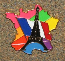 "B8 PIN PARIS FRANCE EIFFEL TOWER COLORFULL 1.3"" MAP"