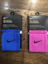 NIKE Dri-FIT Reveal Pink & BlueSinglewide Wristbands - NEW Bundle Of Two Pair.