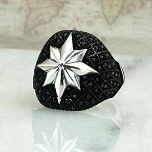 925 Sterling Silver Mens Ring Black Onyx North Star Handmade Ottoman Style