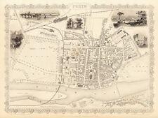 Old Vintage Antique Perth Australia decorative map Tallis ca. 1851