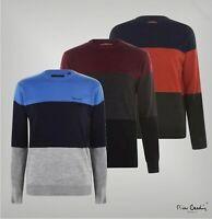 Mens Pierre Cardin Long Sleeves Colour Block Knit Jumper Sizes from S to XXL