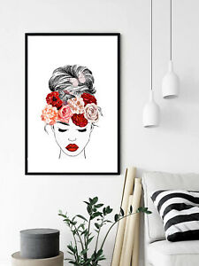 Beautiful Woman Girl Peony Flowers Watercolour Poster Wall Art Canvas Print A3