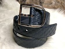 324d6aa53d9 NEW Authentic Gucci Guccisimma Unisex Belt Dark Blue Embossed GG Leather  80 32