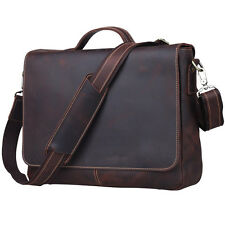 "TIDING Vintage Leather Men Briefcase Shoulder Bag 15"" Laptop Messenger CrossBody"