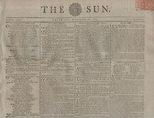 "RARE ORIGINAL NEWSPAPER ""THE SUN"" (20 September 1800) RIOTS, FOOTPADS & ROBBERY"