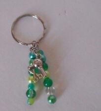beaded key chain backpack charm  green hair dryer scissors stylist