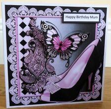 Personalised Handmade Stunning Butterfly Shoe Birthday Card Mum Sister Daughter