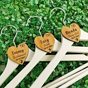 Personalised Wedding Hanger Tags, Party Wooden Heart Laser Engraved Coat Bride