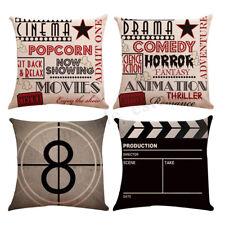 4pcs Linen Sofa Car Home Movie Theater Cinema Pillow 18'' Cushion Cover