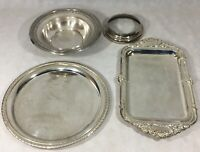 "Silverplate Lot of 4 Serving Platter Tray 10"" Serving Bowl Reed & Barton 1201"